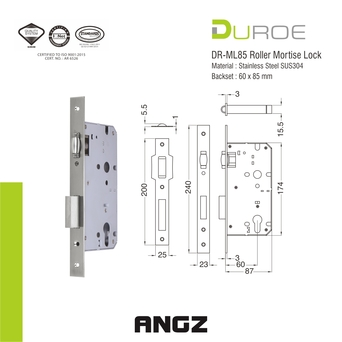 DR-ML85 Roller Mortise Lock